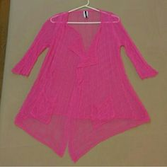 Hot pink cute crochet jaket Crochet jacket with pockets . Light weight to take with you anywhere. Jackets & Coats