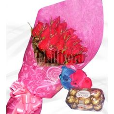 It's what she's dreaming of in a Valentine's gift. Send this Gorgeous 3 dozen premium red roses in a bouquet to your fiancé with inches hugging bear and ferrero rocher 16 delivered to her door in the ultimate romantic gesture. Online Flower Shop, Romantic Gestures, Ferrero Rocher, First Anniversary, Perfect Match, 6 Inches, Chocolates, Valentine Gifts, Red Roses