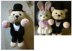 Bunny Bride and Cat Groom (Lena Chiok) Tags: wedding bunny cat idea groom bride couple pattern crochet gift amigurumi