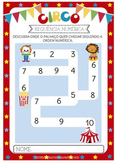 Blog com atividades escolares. Voltado para mães e professoras. Preschool Circus, Preschool Math, Fun Math, Lessons For Kids, Math Lessons, Clown Crafts, Learn Portuguese, Circus Party, Matching Games