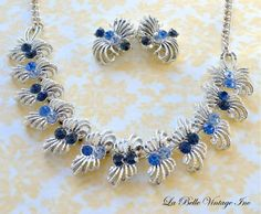 CORO Rhinestone Necklace Earrings  Blue Crystal  by labellevintage, $75.00