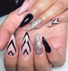 Black and Silver Stiletto Nail Design. See more at http://www.naildesignsforyou.com