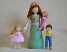 Waldorf inspired needle felted dolls : Mother with Baby,Girl and Boy. $98.00, via Etsy.