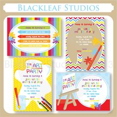 Art Party Invitations - these invitations templates are perfect for birthday invites, cards, thank you cards and more.