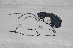 Motif du linge de toilette ours blanc - deco montagne - Vagabonde