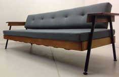 Not the cheapest thing we have featured in this section, but this midcentury-style sofa bed is a very stylish item - and you can put in a cheaper Sofa Bed, Couch, Retro Interior Design, Retro Wallpaper, Home Studio, Mid Century Modern Furniture, Room Themes, Scandinavian Design, Dining Bench