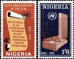 Nigeria 1970 United Nations Set Fine Mint SG 246/7 Scott 241/22 Other Nigerian Stamps HERE