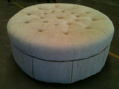 """Just received in 5 of these BEAUTIFUL ottomans~ $220.00 each! Built by Craftmasters~42"""" Round x 19"""" High ~Herringbone tweed fabric with a tufted top~ trimmed in braided cord with a tailored skirt~on 4 casters!"""