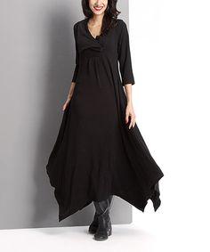 Look at this #zulilyfind! Black Shawl Collar Handkerchief Maxi Dress #zulilyfinds