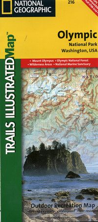 A durable, fold-up topographic map of Olympic National Park, shown at a scale of 1:100,000. Printed in full color on both sides of tearproof, water resistant tyvek. The map shows contours, trails, campgrounds, rivers, lakes and coastlines. Key GPS waypoints are indicated. Published by Trails Illusrtated in assocaition with the National Park Service. Two Sides. 38x25 inches.