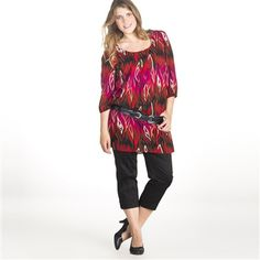 Long Tunic-Style Blouse with 3/4 Sleeves Purple+Red+Black+Flame print
