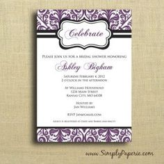 Purple Wedding Shower Invitations
