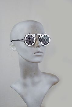 1422155457 Round metal flip up sunglasses perforated stainless steel lens Spider Web