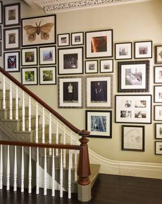 Staircase wall is often a cold corner overlooked by homeowners. But with a little creativity, your staircase wall can be transformed from an ignored area to an attractive focal point. The staircase wall is just Stairway Photos, Stairway Gallery Wall, Staircase Pictures, Gallery Walls, Art Gallery, Wall Pictures, Stairway Walls, Collage Pictures, Display Pictures