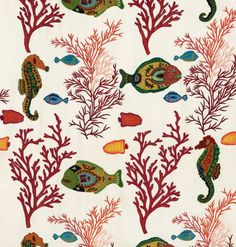 10 of the best new fabrics and wallpapers: Pierre Frey 'Caraibes' fabric in Multicolore.