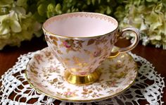 Tuscan Fine Bone China Tea Cup and Saucer, Pink Rose Buds and Gold, Gold Gilt, England by LaBellaVintage on Etsy https://www.etsy.com/listing/469319121/tuscan-fine-bone-china-tea-cup-and