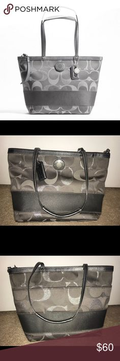 Coach Signature Stripe 3 Color Metallic Tote Coach Signature Stripe Three Color Metallic Tote is the perfect size for an everyday purse. It has been used, but still in good condition. Dimensions can be found in the last photo. Open to reasonable offers. Coach Bags Totes