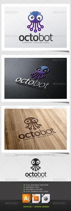 Octo Bot Logo — Vector EPS #branding #brand • Available here → https://graphicriver.net/item/octo-bot-logo/5389301?ref=pxcr