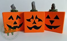 Set of 3 Wooden Pumpkins by KWintersDesigns on Etsy Wooden Pumpkins, Vinyl Lettering, Planter Pots, Deco, Creative, Holiday, Handmade, Stuff To Buy, Etsy