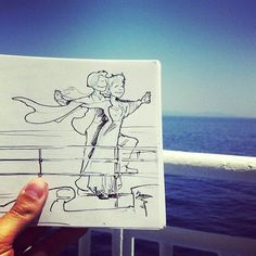 French illustrator Troqman uses pen and a pad of paper, creativity and talent overpaid for his illustrations that make a kind of interaction with the real-life environments.