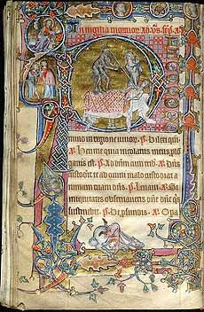 folio from the Macclesfield Psalter. 1330. illuminated manuscript. East Anglia, UK.
