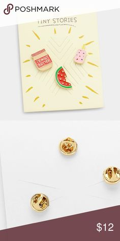 """Peanut butter jam & watermelon brooch set • Color : Multi, Gold • Theme : Fruits/Food  • Size : 0.9"""" L, 1"""" L, 0.8"""" L • Set of 3 Jewelry Brooches"""