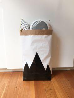 Mountain range silhouette paper storage sack