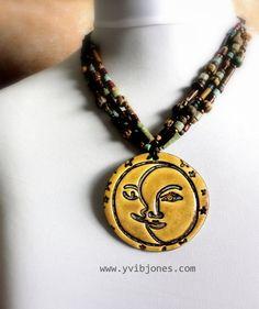 Earthy Statement Necklace Boho Jewelry Sun by YviBJonesCeramics, $78.00