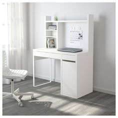 """MICKE Computer work station - white - IKEA -- """"You can keep your desk clear of paper by writing your notes on the magnetic writing board on the back panel or fastening your to-do lists there with a magnet. Ikea Linnmon, Ikea Micke, Ikea Brusali, Ikea Malm, White Desk With Hutch, Desk With Drawers, Bedroom Desk, White Desks, Bedroom Decor"""