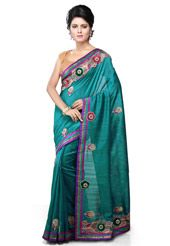 Teal Blue Art Bhagalpuri Silk Saree with Blouse