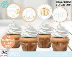 Pumpkin Cupcake Toppers, Pumpkin Birthday Party Decorations, Our Little Pumpkin, First Birthday, 1st Birthday, Boy Birthday, Fall Birthday Pumpkin Birthday Parties, Fall Birthday, Birthday Party Decorations, Boy Birthday, Cupcake Wraps, Cupcake Toppers, Cupcake Images, Cupcake Bakery, Beautiful Cupcakes