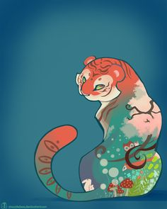 Spring Tiger by ~Mazzlebee on deviantART  I really like the crispness of this piece.  Nice color.