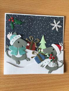 Christmas Cards To Make, Christmas Tag, Xmas Cards, Marianne Design Cards, Paper Art, Paper Crafts, Slider Cards, Lawn Fawn Stamps, Bee Cards