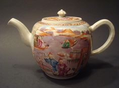 """Antique Chinese Famille Rose Teapot, 18th C. 5 1/2"""" high, 9"""" wide from handle to spout"""
