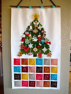 easy to make felt advent calendar - tree with ornaments. We had one of these growing up and my mom still has it. I've been wanting to make one for my own kids, finally found it!!!