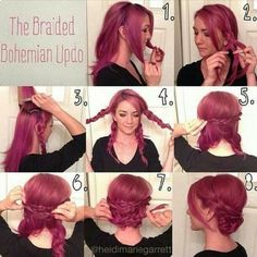 Braided Bohemian Updo Hairstyle Tutorial for Purple Hair Braided Hairstyles are favored by women and they're the perfect hairstyles for the lovely spring days. Braids will make your authentic coiffure look f. My Hairstyle, Pretty Hairstyles, Hairstyle Ideas, Love Hair, Gorgeous Hair, Beautiful Braids, Bohemian Hairstyles, Boho Updo, Boho Braid