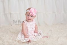 lace dress pink baby outfit pink birthday outfit by PoshPeanutKids