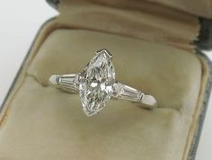 1940s 1.20ct MARQUISE DIAMOND EGL CERTIFIED ART DECO ENGAGEMENT RING VINTAGE