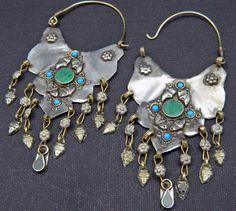 Vintage Afghani Tribal Earrings with Dangles Green by UberKuchi