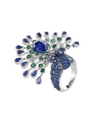 Boucheron peacock ring - with blue pear and cabochon-shaped sapphires accented by green sapphires and a stunning central deep blue 3.5 carat sapphire