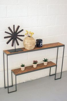 Kalalou 2 Tiered Recycled Honey Wood & Iron Console Table With Herring Bone Pattern Top Iron Furniture, Steel Furniture, Industrial Furniture, Home Furniture, Furniture Design, Wooden Furniture, Antique Furniture, Recycled Furniture, Farmhouse Furniture
