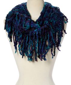 Look what I found on #zulily! Royal & Turquoise Fringe-Trim Infinity Scarf by Steve Madden #zulilyfinds