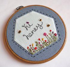 Hi Honey Hand Embroidery Needlework Pattern by themasonbee on Etsy