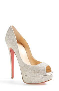 Christian Louboutin 'Lady' Glitter Peep Toe Platform Pump www.ScarlettAvery.com