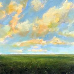 Original Oil Painting 18x18 Custom Modern Abstract Sky Cloud Field LANDSCAPE ART by J Shears