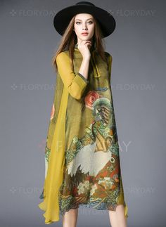 Dresses - $85.08 - Silk Floral 3/4 Sleeves Mid-Calf Vintage Dresses (1955105553)