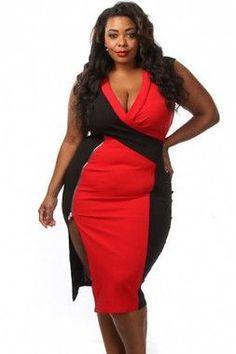 97ed22d03fd Red Black Colorblock Side Slit Curvy Midi Dress Ladies plus size sheath  clubwear