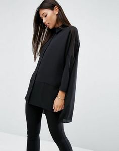 ASOS Oversized Blouse With Sheer Inserts