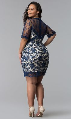 Short Embroidered Lace Plus-Size Party Dress - Plus Size Party Dresses - Ideas of Plus Size Party Dresses Thick Girl Fashion, Curvy Women Fashion, Look Fashion, Short African Dresses, Latest African Fashion Dresses, Lace Dress Styles, Plus Size Party Dresses, The Dress, Embroidered Lace
