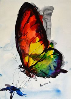 Rainbow Butterfly watercolor painting original by AlisaAdamsoneArt: